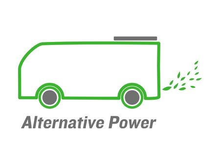 ecological damage: vector alternative power bus with green leaves  emissions Illustration