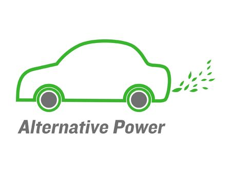 hybrid: vector alternative power car with green leaves  emissions Illustration