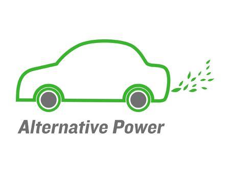 ecological damage: vector alternative power car with green leaves  emissions Illustration