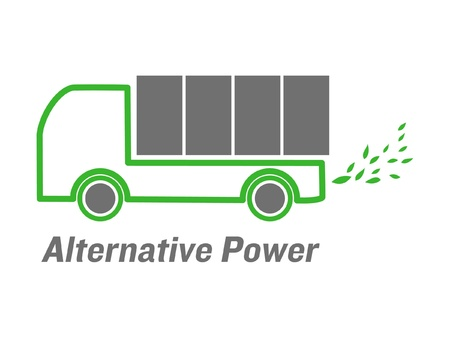 emissions: vector alternative power truck with green leaves  emissions
