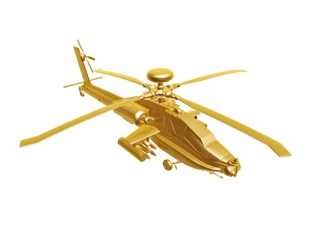 golden apache  helicopter isolated on white background photo