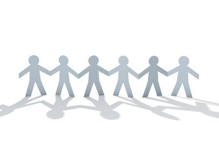 white paper man team over white background Stock Photo - 9840959
