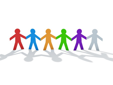 group chain: colorful paper men team over white background