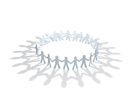 friendship circle: paper men team circle over white background