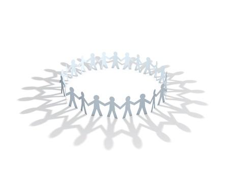 mensen kring: papier mannen team cirkel op een witte achtergrond
