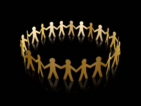 group chain: golden paper men team circle over black background Stock Photo