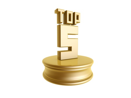 golden top five in rank list trophy isolated on white background