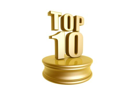 golden top ten in rank list trophy isolated on white background Stock Photo - 9840966