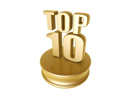 10: golden top ten in rank list trophy isolated on white background Stock Photo