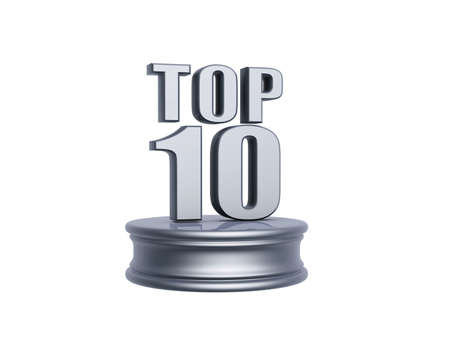 platinum top ten in rank list trophy isolated on white background Stock Photo - 9840965