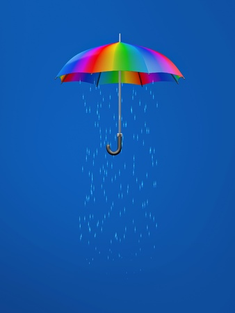 monsoon: colorful umbrella with rain inside over blue background