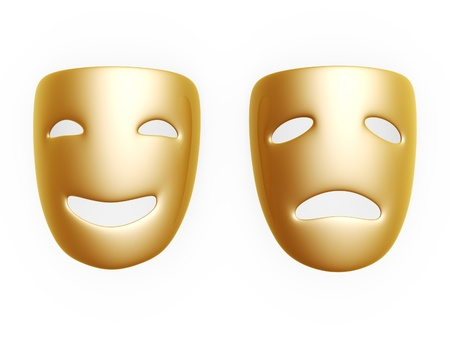 gold comedy and tragedy masks isolated over white background photo