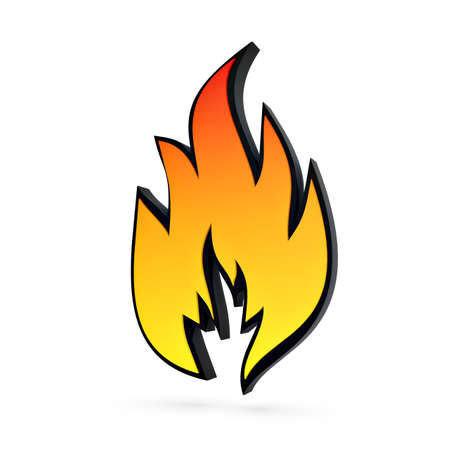 embers: solid flame symbol isolated over white background
