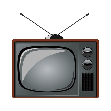 ntsc: old tv set on white background Illustration