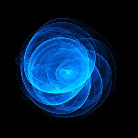 blue flame: blue rays circle on dark background Stock Photo