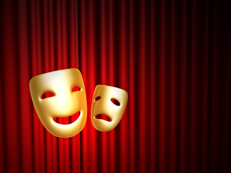 golden comedy and tragedy masks over red curtain on stage photo