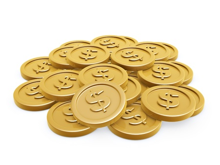 coins pile: dollar symbol gold coins pile on white background Stock Photo