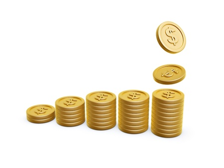 pile of coins: dollar symbol gold coins pile on white background Stock Photo