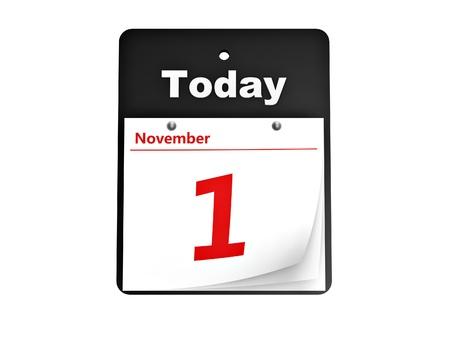 calendario noviembre: calendario de l�grima fuera d�a aislado en fondo blanco Foto de archivo