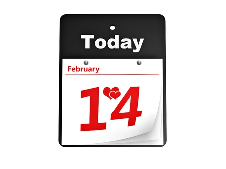 tear-off day calendar valentine's day isolated on white background Stock Photo - 10143472