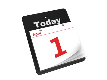 tear-off day calendar isolated on white background photo