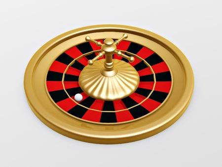 roulette wheel: Roulette wheel of casino on white background