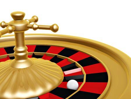 roulette: Ruota della roulette del casino su sfondo bianco