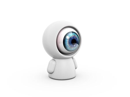 camera eye doll sitting on white background Stock Photo