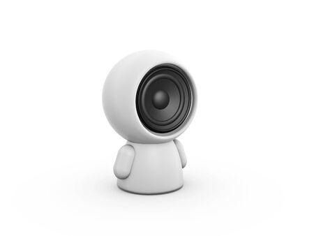 music loudspeaker: speaker talk doll sitting on white background