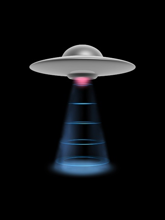 flying float: ufo disc with power lighting on dark background