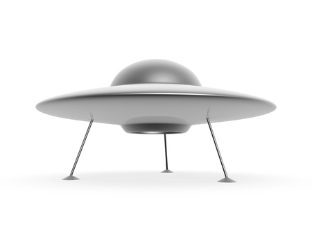 3d ufo disc landing on white background