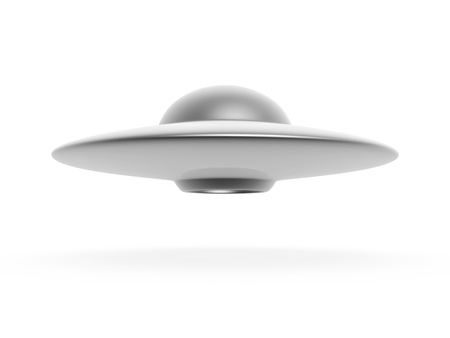 ufo disc hover on white background photo