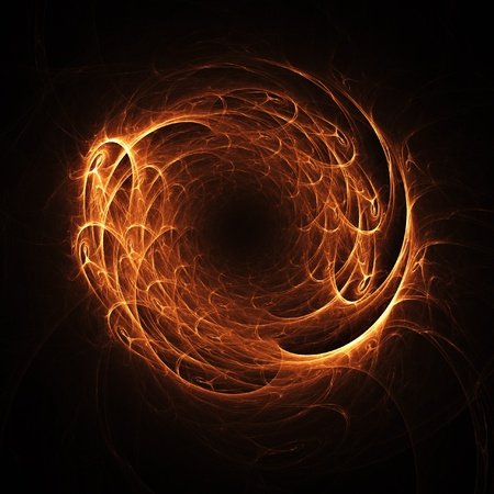 ring of fire: powerful fire wheel on dark background