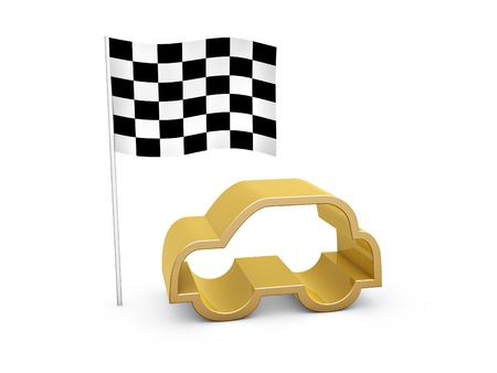 checked flag: checked flag and car symbol on white background