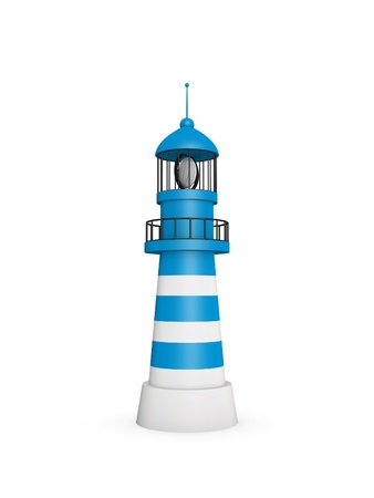 3d lighthouse building stands on white background