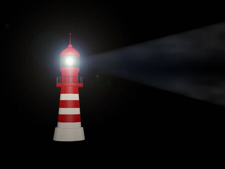 searchlight: 3d lighthouse building stands on night background Stock Photo