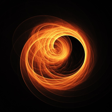 fire swirl ring rays on dark background