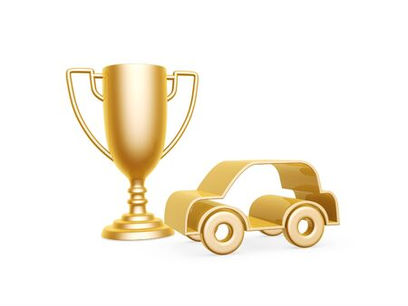 golden racing car symbol and trophy cup on white background Stock Photo