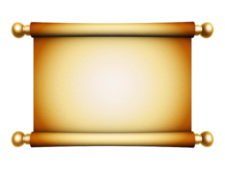 medieval scroll: golden scroll parchment isolated on white background Stock Photo