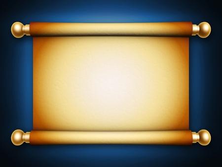 пергамент: золотой свиток пергамента с тенью на синем фоне