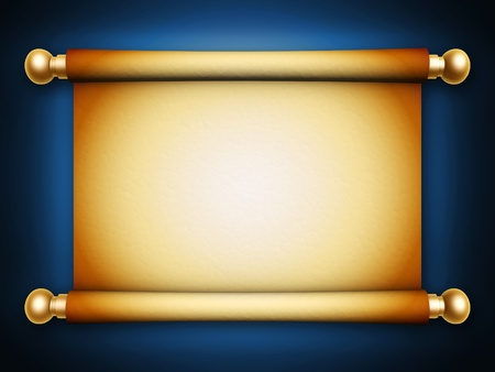 golden scroll parchment with shadow on blue background photo