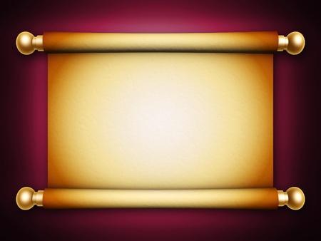 scroll?: pergamino scroll dorado con sombra sobre fondo azul