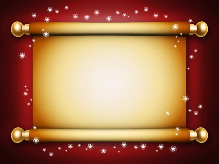 page border: golden scroll parchment with snow on white background