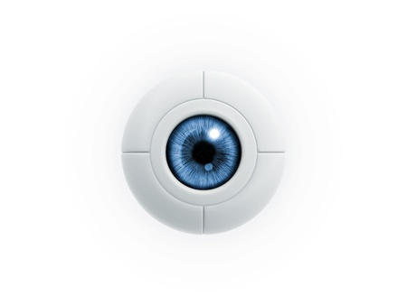 eye protection: blue electric eye ball on white background Stock Photo