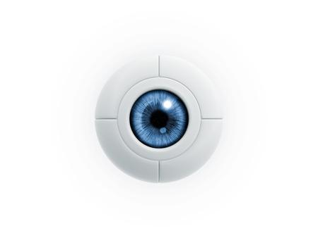 eye ball: bola azul el�ctrico ojo sobre fondo blanco
