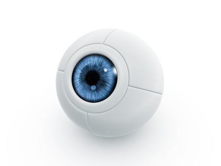 cam: blue electric eye ball on white background Stock Photo