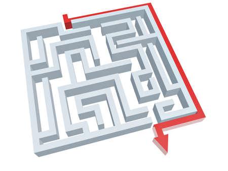 solution of maze isolated on white background photo