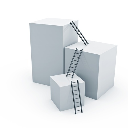 ladders to top of box on white background