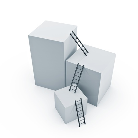 levels: ladders naar de top van doos op witte achtergrond Stockfoto