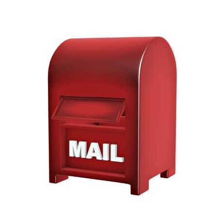correspond: red mail box isolated on white background